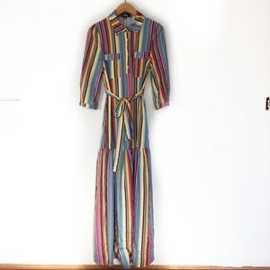 Lulu's Rainbow Striped Shirt Midi Dress
